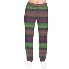 Stripes Green Brown Pink Grey Velvet Drawstring Pants