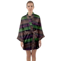 Stripes Green Brown Pink Grey Long Sleeve Kimono Robe by BrightVibesDesign