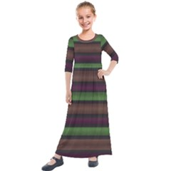 Stripes Green Brown Pink Grey Kids  Quarter Sleeve Maxi Dress by BrightVibesDesign