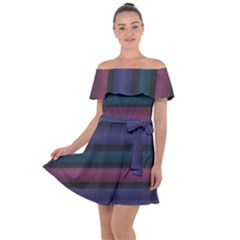 Stripes Pink Purple Teal Grey Off Shoulder Velour Dress by BrightVibesDesign