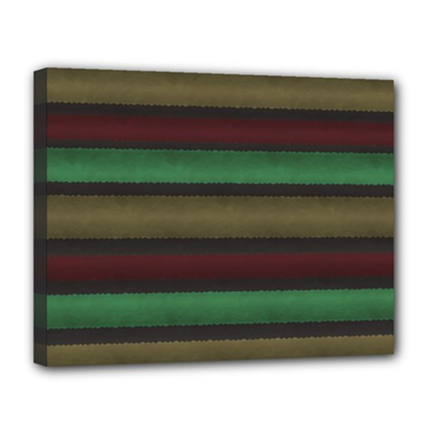 Stripes Green Red Yellow Grey Canvas 14  X 11  (stretched) by BrightVibesDesign