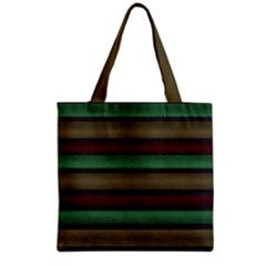 Stripes Green Red Yellow Grey Grocery Tote Bag