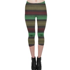 Stripes Green Red Yellow Grey Capri Leggings