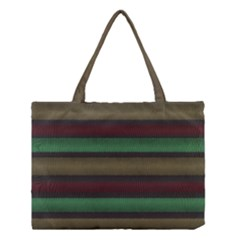 Stripes Green Red Yellow Grey Medium Tote Bag