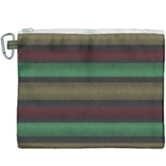 Stripes Green Red Yellow Grey Canvas Cosmetic Bag (xxxl)
