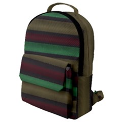 Stripes Green Red Yellow Grey Flap Pocket Backpack (small) by BrightVibesDesign