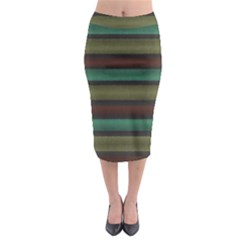 Stripes Green Yellow Brown Grey Midi Pencil Skirt