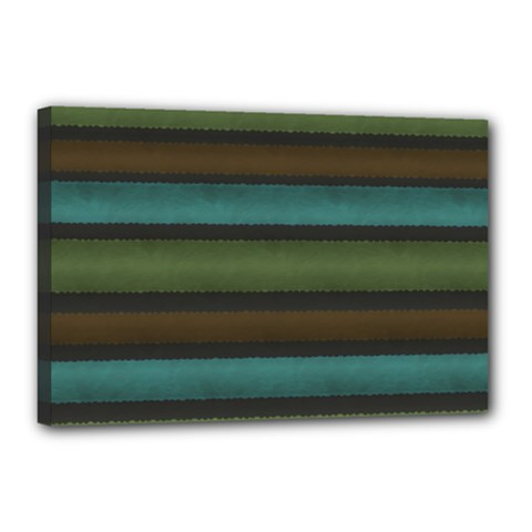 Stripes Teal Yellow Brown Grey Canvas 18  X 12  (stretched) by BrightVibesDesign