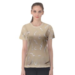 Almond Buff Scribbles Women s Sport Mesh Tee by TimelessFashion