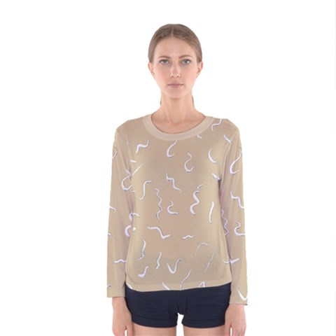 Almond Buff Scribbles Women s Long Sleeve Tee by TimelessFashion