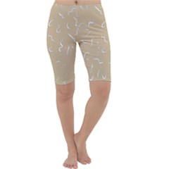 Almond Buff Scribbles Cropped Leggings
