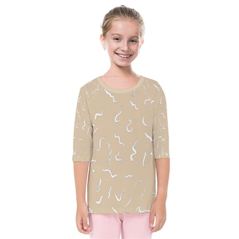 Almond Buff Scribbles Kids  Quarter Sleeve Raglan Tee by TimelessFashion