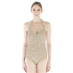 Almond Buff Scribbles Halter Swimsuit by TimelessFashion