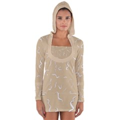 Almond Buff Scribbles Long Sleeve Hooded T Shirt