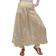 Almond Buff Scribbles Satin Palazzo Pants by TimelessFashion