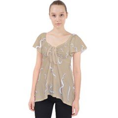 Almond Buff Scribbles Lace Front Dolly Top by TimelessFashion
