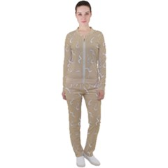 Almond Buff Scribbles Casual Jacket And Pants Set by TimelessFashion