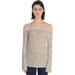 Almond Buff Scribbles Off Shoulder Long Sleeve Top by TimelessFashion