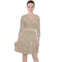 Almond Buff Scribbles Ruffle Dress by TimelessFashion
