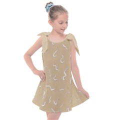 Almond Buff Scribbles Kids  Tie Up Tunic Dress by TimelessFashion