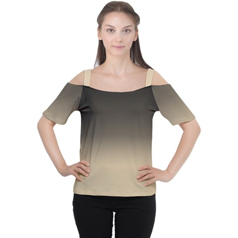 Almond Buff To Black Cutout Shoulder Tee by TimelessFashion