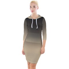 Almond Buff To Black Quarter Sleeve Hood Bodycon Dress by TimelessFashion