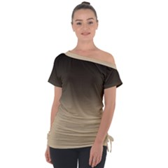 Almond Buff To Black Tie Up Tee by TimelessFashion