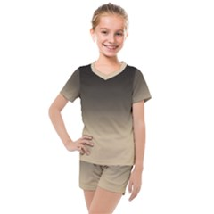 Almond Buff To Black Kids  Mesh Tee And Shorts Set by TimelessFashion