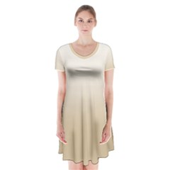 Almond Buff To White  Short Sleeve V-neck Flare Dress by TimelessFashion