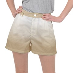 Almond Buff To White  Stretch Ripstop Shorts by TimelessFashion