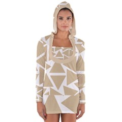 Almond Buff Triangles Long Sleeve Hooded T Shirt by TimelessFashion