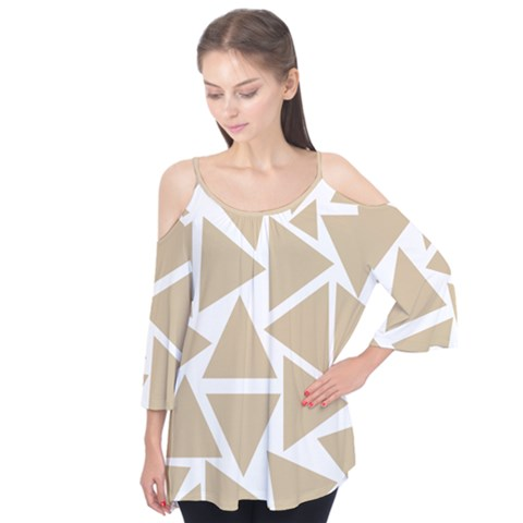 Almond Buff Triangles Flutter Tees by TimelessFashion