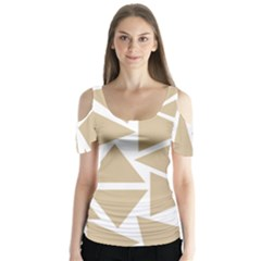 Almond Buff Triangles Butterfly Sleeve Cutout Tee  by TimelessFashion