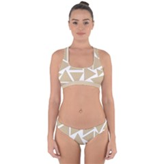 Almond Buff Triangles Cross Back Hipster Bikini Set by TimelessFashion