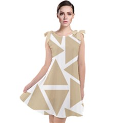 Almond Buff Triangles Tie Up Tunic Dress by TimelessFashion