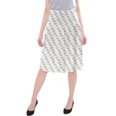 No Step On Snek Pattern Yellow On White Background Gadsden Flag Meme Parody Midi Beach Skirt