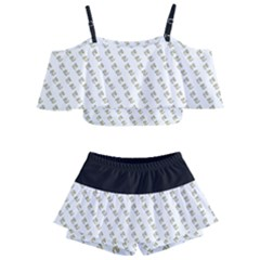 No Step On Snek Pattern White Background Meme Kids  Off Shoulder Skirt Bikini