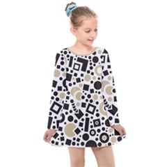 Black Versus Almond Buff Kids  Long Sleeve Dress by TimelessFashion