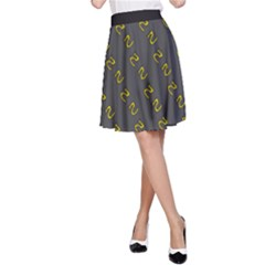 No Step On Snek Pattern Yellow On Dark Gray Background Gadsden Flag Meme Parody A Line Skirt