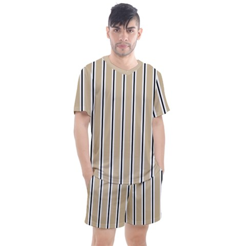 Classic Stripes  Men s Mesh Tee And Shorts Set by TimelessFashion