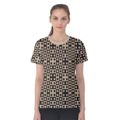 Coral Blocks Strap Almond Buff Women s Cotton Tee