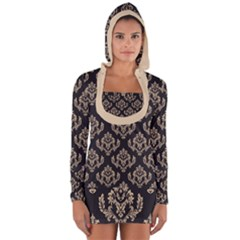 Damask   Almond Buff On Black Long Sleeve Hooded T Shirt