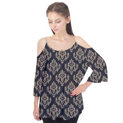 Damask - Almond Buff On Black Flutter Tees by TimelessFashion