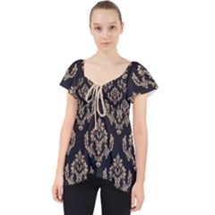 Damask   Almond Buff On Black Lace Front Dolly Top by TimelessFashion