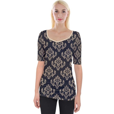 Damask - Almond Buff On Black Wide Neckline Tee by TimelessFashion