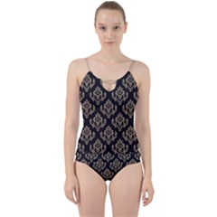 Damask   Almond Buff On Black Cut Out Top Tankini Set