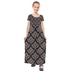 Damask   Almond Buff On Black Kids  Short Sleeve Maxi Dress by TimelessFashion