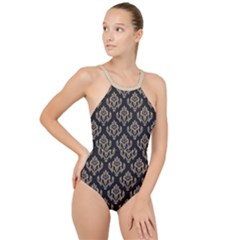 Damask - Almond Buff On Black High Neck One Piece Swimsuit by TimelessFashion
