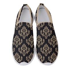 Damask   Almond Buff On Black Women s Slip On Sneakers by TimelessFashion