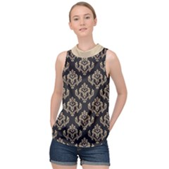 Damask   Almond Buff On Black High Neck Satin Top by TimelessFashion